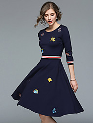 cheap -Women's Blue Dress Street chic Fall Daily Going out A Line Floral Print S M
