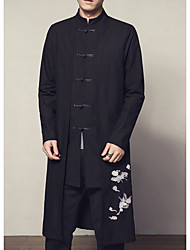 cheap -Men's Daily Fall Long Jacket, Animal Stand Long Sleeve Linen / Others Print Black