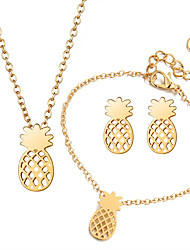cheap -Women's Jewelry Set Pendant Necklace Bracelet Pineapple Ladies Korean Sweet Elegant Earrings Jewelry Gold / Silver For Daily Evening Party