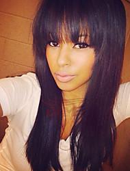 cheap -Human Hair Wig Straight With Bangs Straight Natural Hairline Machine Made Women's Black#1B Medium Auburn Medium Auburn / Bleach Blonde 24 inch