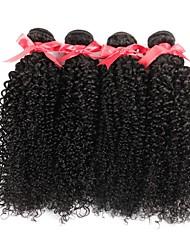 cheap -4 Bundles Brazilian Hair Kinky Curly Human Hair Natural Color Hair Weaves / Hair Bulk 8-28 inch Human Hair Weaves Hot Sale Human Hair Extensions / 8A