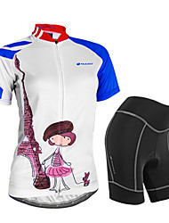 cheap -Nuckily Women's Short Sleeve Cycling Jersey with Shorts White Bike Shorts Jersey Clothing Suit Waterproof Breathable 3D Pad Reflective Strips Sweat-wicking Sports Polyester Spandex Painting Mountain