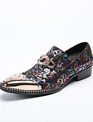 cheap -Men's Formal Shoes Leather / Nappa Leather Spring / Fall Loafers & Slip-Ons Black / Wedding / Party & Evening / Novelty Shoes