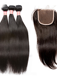 cheap -3 Bundles with Closure Malaysian Hair Straight Virgin Human Hair Hair Weft with Closure Human Hair Weaves Human Hair Extensions / 10A