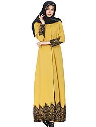 cheap -Women's Maxi Yellow Blue Dress Daily Abaya Jalabiyah Solid Colored Shirt Collar Lace S M / Cotton