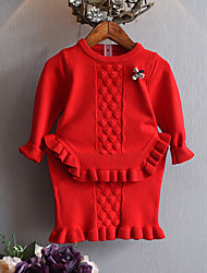 cheap -Toddler Girls' Casual Daily Solid Colored Short Sleeve Regular Cotton Bamboo Fiber Clothing Set Red