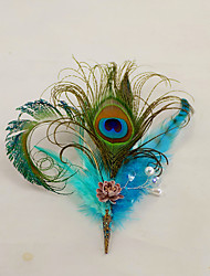 "cheap -Wedding Flowers Boutonnieres Headdress Artificial Flower Brooches & Pins Wedding Event/Party Fabrics Feathers 7.48""(Approx.19cm)"