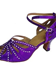 cheap -Women's Dance Shoes Satin Latin Shoes Sandal Customized Heel Customizable Black / Purple / Navy / EU41
