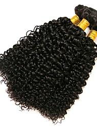 Недорогие -3 Связки Бразильские волосы Kinky Curly Натуральные волосы Человека ткет Волосы 8-28 дюймовый Ткет человеческих волос Расширения человеческих волос / 8A / Кудрявый вьющиеся