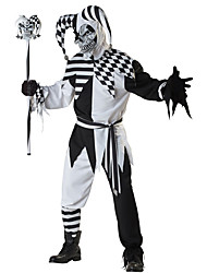 cheap -Burlesque Clown Cosplay Costume Adults' Men's Halloween Festival / Holiday Polyster Black Carnival Costumes Plaid / Check