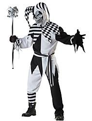 Недорогие -Клоун Косплэй Kостюмы Взрослые Муж. Хэллоуин Фестиваль / праздник Полиэстер Черный Карнавальные костюмы В клетку