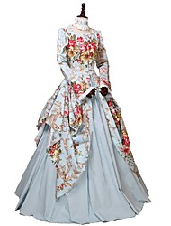 cheap -Princess Victorian Women's Cotton Costume Ocean Blue Vintage Cosplay Party Carnival Prom Floor Length Long Length Plus Size Customized
