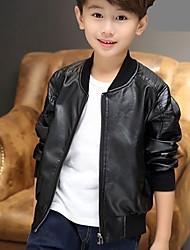 abordables -Bébé Garçon Simple Quotidien Couleur Pleine Manches Longues Normal Polyuréthane Costume & Blazer Noir