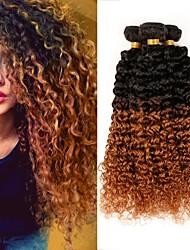 Недорогие -3 Связки Бразильские волосы Kinky Curly Не подвергавшиеся окрашиванию Омбре Омбре Ткет человеческих волос Расширения человеческих волос / 10A / Кудрявый вьющиеся