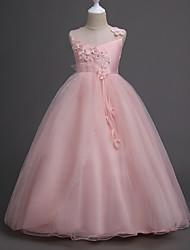 cheap -Kids Girls' Sweet Party Floral Layered Jacquard Sleeveless Dress Blushing Pink / Cotton
