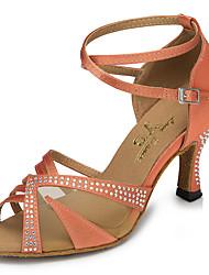 cheap -Dance Shoes Leatherette Latin Shoes Trim Sneaker Stiletto Heel Customizable Black / Almond / Red
