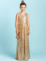 cheap -A-Line / Princess V Neck Floor Length Sequined Junior Bridesmaid Dress with Sequin / Pleats