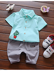 cheap -Baby Boys' Simple Daily Print Short Sleeves Clothing Set Blue