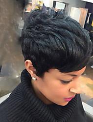 Недорогие -Человеческие волосы Парик Короткие Естественные волны Стрижка под мальчика Короткие Прически 2020 Прически Холли Берри Естественные волны Боковая часть Машинное плетение Жен. Черный Medium Auburn