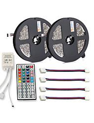 Недорогие -ZDM водонепроницаемый 2x5 м 30 шт. метров 5050 10 мм RGB светодиодные полосы света 44 ключа ик-контроллер с 4 шт. RGB водонепроницаемый соединительной линии dc12v
