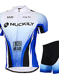 cheap -Nuckily Men's Women's Short Sleeve Cycling Jersey with Shorts Blue Gradient Bike Shorts Jersey Clothing Suit Waterproof Breathable Ultraviolet Resistant Waterproof Zipper Reflective Strips Sports