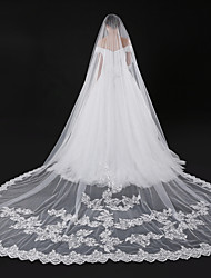 cheap -One-tier Modern Style / Accessories / Flower Style Wedding Veil Blusher Veils / Chapel Veils with Appliques Tulle / Angel cut / Waterfall / Lace Applique Edge