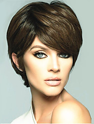 cheap -Synthetic Wig Straight Straight Pixie Cut Wig Short Medium Golden Brown Synthetic Hair Women's Side Part Brown StrongBeauty