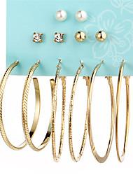 cheap -Women's Crystal Stud Earrings Hoop Earrings Ball Ladies Elegant Oversized Huge Earrings Jewelry Gold / Silver For Evening Party New Year 12pcs