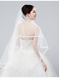 cheap -Two-tier Classic Wedding Veil Fingertip Veils with Embroidery Tulle