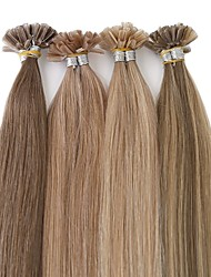 cheap -Neitsi Fusion / U Tip Human Hair Extensions Straight Remy Human Hair Brazilian Hair Natural Color 1pack Women's Platinum Blonde