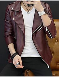 cheap -Men's Sports Winter Short Leather Jacket, Solid Colored V Neck Long Sleeve PU Black / Navy Blue / Wine