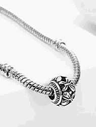 cheap -DIY Jewelry 1 pcs Beads Alloy Silver Oval Bead 0.2 cm DIY Necklace Bracelet