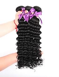cheap -3 Bundles Brazilian Hair Deep Wave Human Hair Natural Color Hair Weaves / Hair Bulk Human Hair Extensions Human Hair Weaves Human Hair Extensions / 8A
