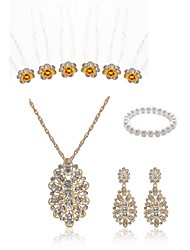 cheap -Women's Bead Bracelet Bridal Jewelry Sets Flower European Fashion Imitation Pearl Imitation Diamond Earrings Jewelry White For Wedding Party