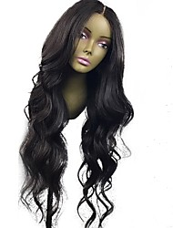 cheap -Human Hair Glueless Lace Front Lace Front Wig style Brazilian Hair Wavy Natural Wave Wig 130% Density 10-24 inch with Baby Hair Natural Hairline 100% Virgin Unprocessed Pre-Plucked Women's Medium