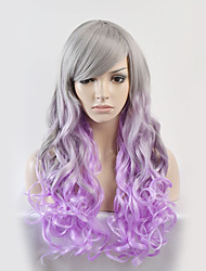cheap -Synthetic Wig Body Wave Body Wave Wig Long Silver Purple Synthetic Hair Women's Purple