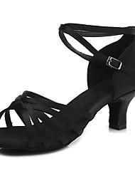 cheap -Dance Shoes Satin Latin Shoes Rattan Heel Cuban Heel Customizable Black / Beige / Dark Brown