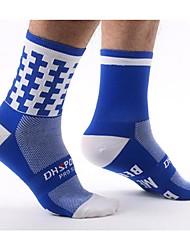 cheap -Compression Socks Athletic Sports Socks Cycling Socks Men's Women's Bike / Cycling Lightweight Anatomic Design Breathability 1 Pair Letter & Number Nylon Black Green / Yellow Sky Blue L-XL
