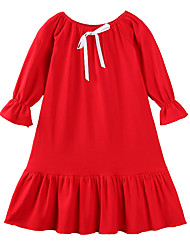 cheap -Toddler Girls' Casual Boho Party Daily Solid Colored Bow Ruffle Ruched Long Sleeve Dress White / Cotton / Pleated