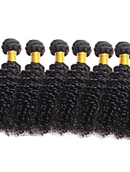 cheap -6 Bundles Brazilian Hair Curly Virgin Human Hair Natural Color Hair Weaves / Hair Bulk 8-26 inch Natural Black Human Hair Weaves Human Hair Extensions / 10A