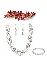 cheap -Women's Bead Bracelet Bridal Jewelry Sets Flower Dream Catcher European Fashion Imitation Pearl Imitation Diamond Earrings Jewelry White For Wedding Party