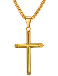 cheap -Men's Pendant Necklace Cross Stainless Steel Metal Gold Silver Necklace Jewelry One-piece Suit For Gift Daily