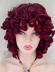 cheap -Synthetic Wig Curly Curly With Bangs Wig 14-17inch Dark Wine Synthetic Hair Women's Red