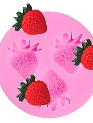 Недорогие -3 полости клубники фрукты силиконовые формы торт помадка sugarcraft шоколад плесень