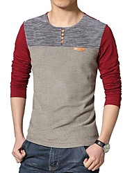 cheap -Daily Cotton T-shirt - Color Block Patchwork Round Neck Red / Long Sleeve