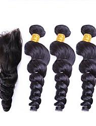 Недорогие -3 комплекта с закрытием Перуанские волосы Свободные волны Не подвергавшиеся окрашиванию Человека ткет Волосы Ткет человеческих волос Расширения человеческих волос / 10A