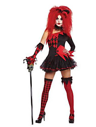 cheap -Burlesque Clown Circus Cosplay Costume Adults' Women's Halloween Festival / Holiday Linen / Cotton Blend Black Female Carnival Costumes Plaid / Check