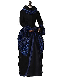 cheap -Rococo Victorian Costume Party Costume Masquerade Bule / Black Vintage Cosplay Taffeta 70% cotton 30%  nylon + spandex Long Sleeve Bell Sleeve Ankle Length / Floral