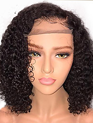 cheap -Human Hair Glueless Lace Front Lace Front Wig Bob style Brazilian Hair Curly Wig 130% Density with Baby Hair Natural Hairline African American Wig 100% Virgin Unprocessed Women's Short Human Hair