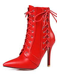 cheap -Women's Boots Stiletto Heel Pointed Toe Leatherette Booties / Ankle Boots Ankle Strap / Fashion Boots Spring / Fall Black / White / Red / Party & Evening